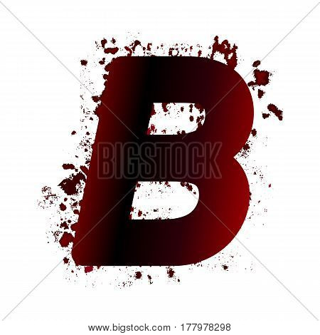 Dirty Bloody Letter B With Spots. Grunge Alphabet. Scary Letters For Halloween