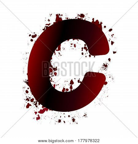 Dirty Bloody Letter C With Spots. Grunge Alphabet. Scary Letters For Halloween