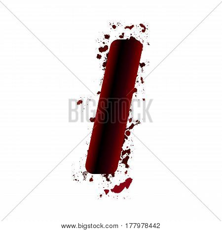 Dirty Bloody Letter I With Spots. Grunge Alphabet. Scary Letters For Halloween