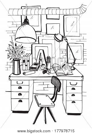 Workspace, hand drawn sketch illustration. Modern workplace interior in loft style.