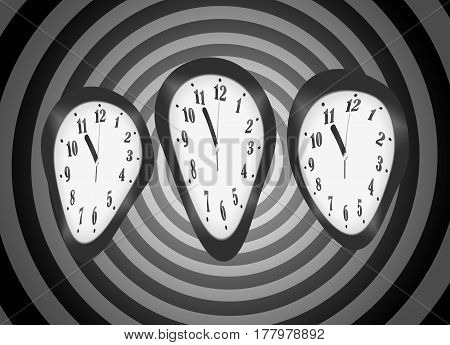 Distorted Clocks For The Concept Of Time Warp Isolated On Psychedelic Psycho Spiral Background