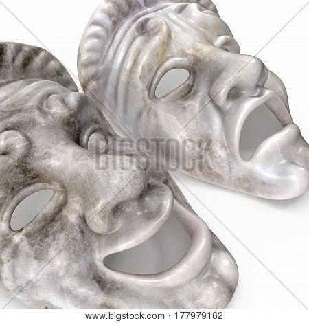 Theatre Masks Set White Marble on white background. 3D illustration