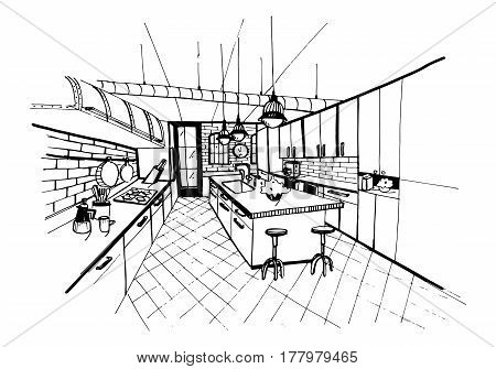 Modern kitchen interior in loft style, Hand drawn sketch illustration.