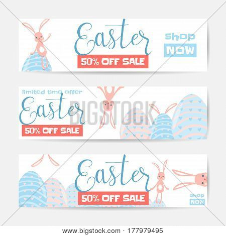 Vector illustration of horizontal easter sale banner set with cute easter rabbit, fun striped eggs and hunt ears. Spring holiday design template for web or print
