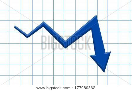 Blue 3D Arrow Graph Going Down Market Falling Down. Failure