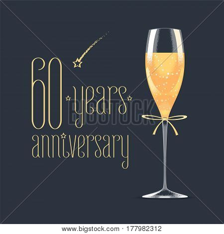 60 years anniversary vector icon logo. Graphic design element with golden lettering and glass of champagne for 60th anniversary greeting card or banner