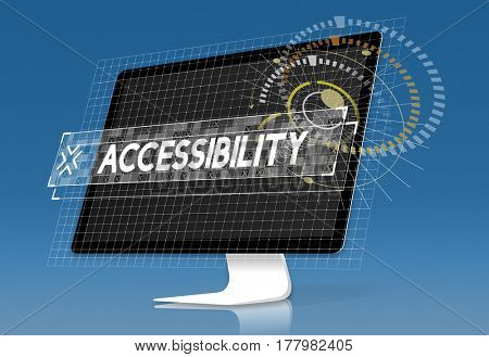 Computer screen with accessbility word graphic popup