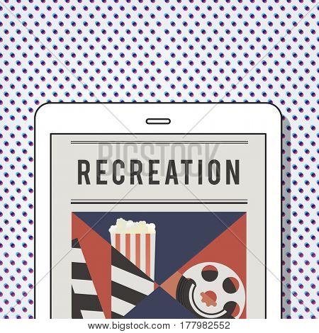 Illustration of movies theatre media entertainment on digital tablet