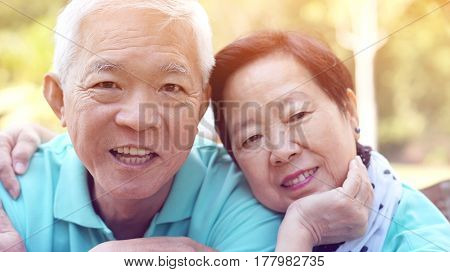 Close Up Potrait Of Smiling Asian Senior Couple On Bright Green Background