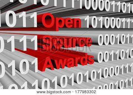 open source awards is presented in the form of binary code 3d illustration