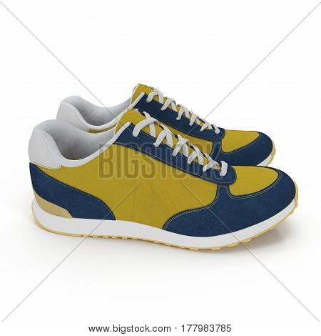 Pair of bright sport shoes on white background. 3D illustration