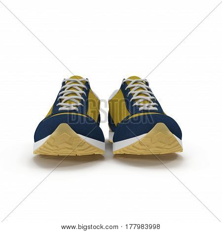 Pair of bright sport shoes on white background. Front view. 3D illustration