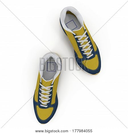 Convenient for sports mens sneakers in dark blue thick fabric. Presented on a white background. Top view. 3D illustration