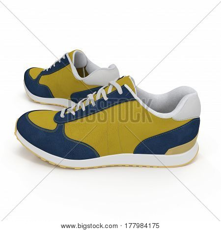 Pair of bright sport shoes on white background. Side view. 3D illustration