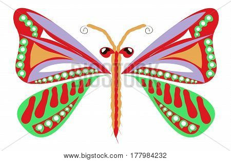 Hand drawn ornamental colorful butterfly for coloring page and print, stock vector illustration