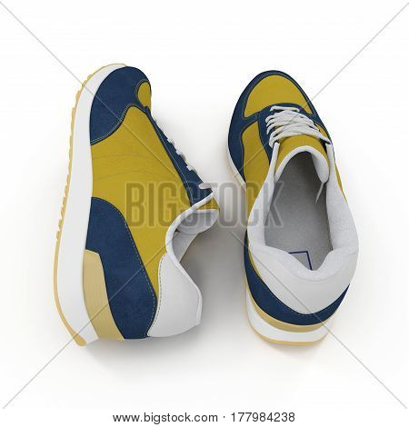 Convenient for sports mens sneakers in dark blue thick fabric. Presented on a white background. Rear view. 3D illustration