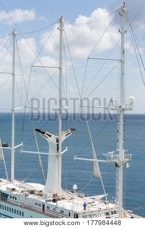 Masts on Small Cruise Ship in Barbados