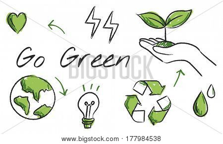 Environmental green icon diagram sketch