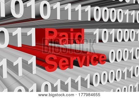 paid service is represented as a binary code 3d illustration