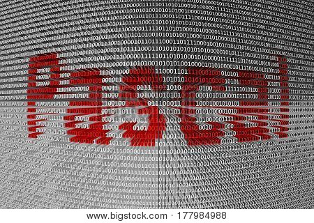 Pascal in the form of binary code, 3D illustration