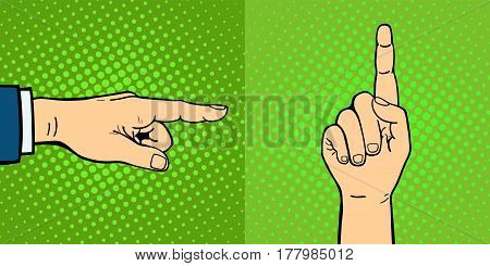 Hands showing deaf-mute different gestures human arm hold communication and direction design fist touch pop art style colorful vector illusstration. Forefinger unity point showing.