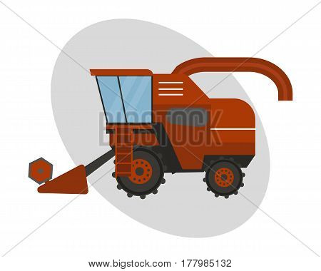 Agriculture industrial farm equipment machinery tractor combine and red rural machinery corn car harvesting wheel vector illustration. Autumn farmland heavy industry transportation.