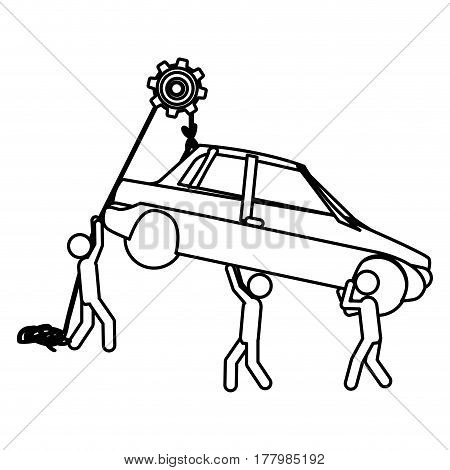 Silhouette workers with pulley holding small automobile vector illustration
