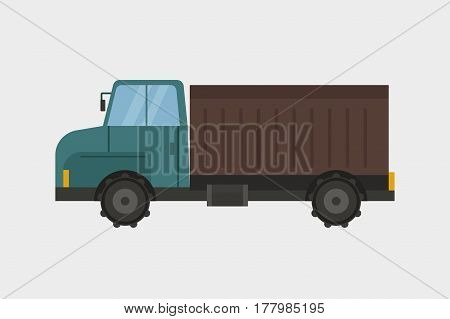 Agriculture industrial farm equipment machinery truck and trailer transport of hay rural machinery corn car harvesting wheel vector illustration. Autumn farmland heavy industry transportation.