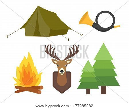 Set of vintage hunting symbols camping objects design elements flat style hunter weapons and forest wild animals and other outfit isolated vector illustration. Aiming outdoors equipment.