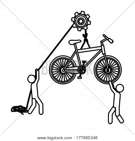 Silhouette workers with pulley holding bicycle vector illustration