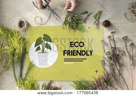 DIY flower arrangement with environmental banner