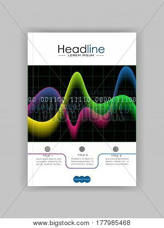 Book cover design with glowing diagram colourful waves and numbers on black background. Good for annual report conference journal book banner flyer business report. Vector.