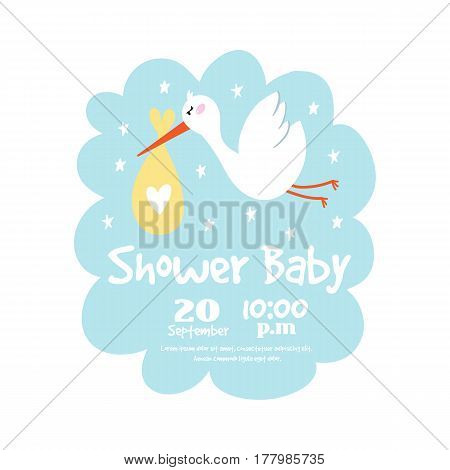 Baby shower badge happy mothers day insignias logotype stork sticker stamp icon frame and card design doodle vintage hand drawn element vector illustration. Childhood banner greeting announcement.