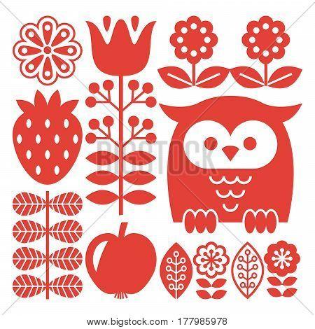Finnish inspired folk art red pattern - Scandinavian, Nordic style
