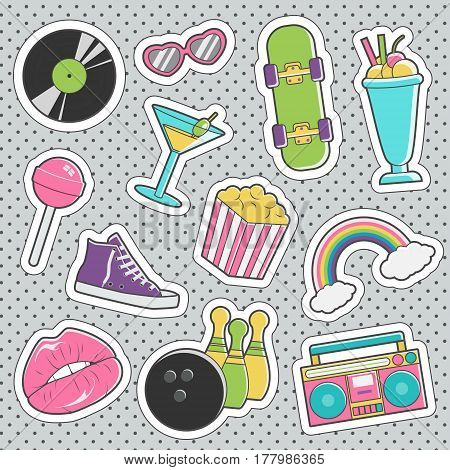 Set of fun trendy vintage sticker fashion badges with coctail, boombox, heart glasses, bowling, shoes, skateboard. Vector illustrations for iron on patches, transfer tottoos, sew on chevron.
