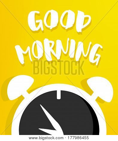 Vector illustration with alarm clock on yellow background. Good morning poster.