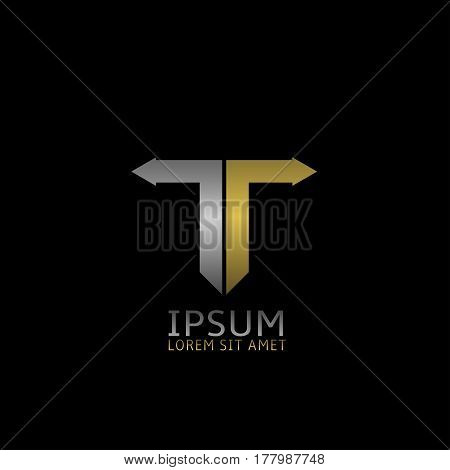T letter logo. Silver and golden arrows, growth sign