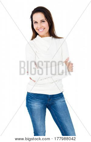 Smiling woman crossing arms on white backgound
