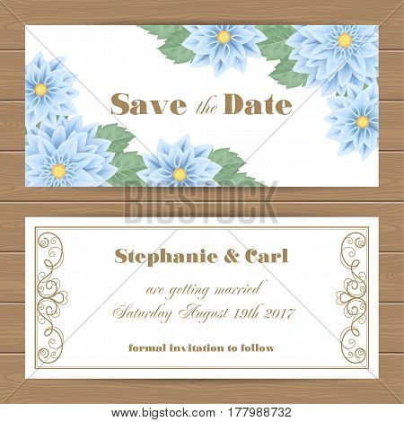 Save the Date card or Wedding Invitation template. Vector Illustration