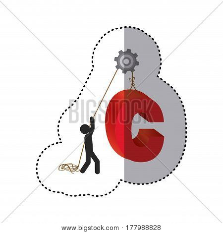 sticker colorful worker with pulley holding word c vector illustration