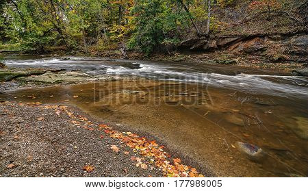 Beautiful autumn scene at Tinker's Creek Gorge in Cleveland Ohio.