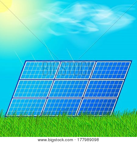 Modern solar station with blue panels standing in field with green grass and under a bright cloudy sky with reflection of sun in batteries. Nature energy concept