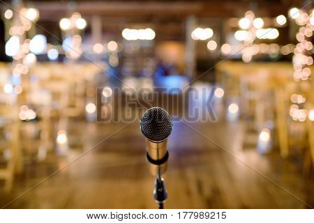 Microphone on stand before wedding ceremony