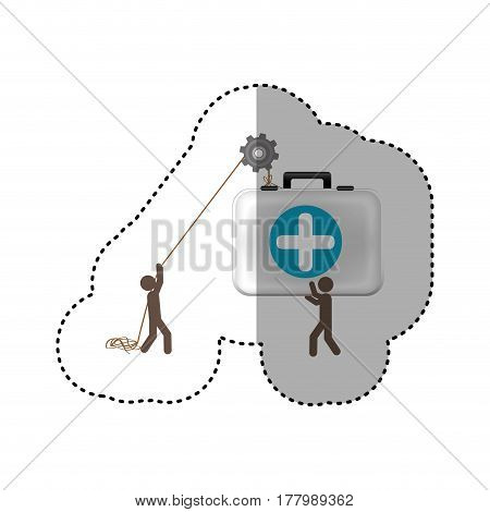 sticker colorful workers with pulley holding first aid kit vector illustration