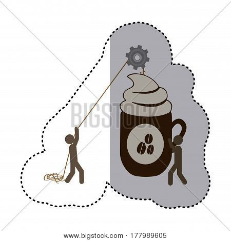 sticker colorful workers with pulley holding big mug of cappuccino with cream vector illustration
