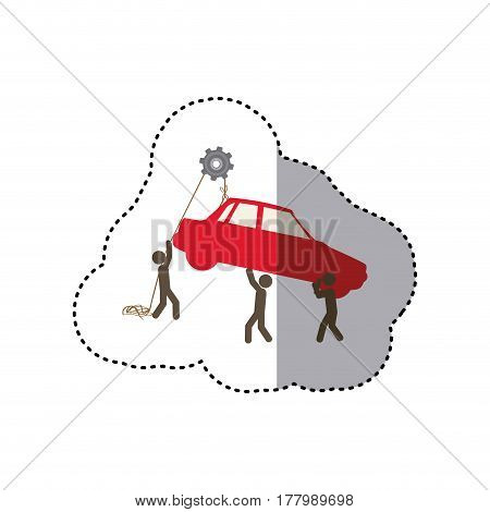 sticker colorful workers with pulley holding small automobile vector illustration