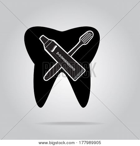 Tooth, Toothbrush and Tube of Toothpaste icon, protection tooth hygiene concept, dentist icon