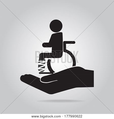 Injury man and bandage in hand icon. Protection or care medical service personal accident insurance concept