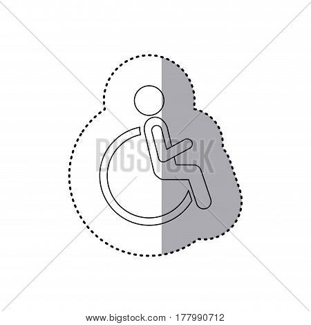 sticker contour pictogram sitting in abstract reclininig wheelchair flat icon vector illustration