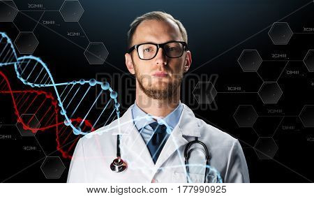 science, technology, people and medicine concept - close up of male doctor in white coat with stethoscope and virtual dna molecules